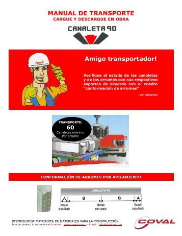 Eternit - Canaleta 90 - Transporte, cargue y descargue - Coval.com.co
