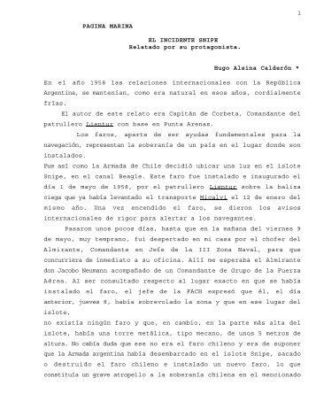 1 PAGINA MARINA EL INCIDENTE SNIPE ... - Revista de Marina