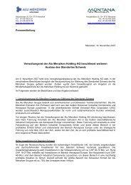 Verwaltungsrat der Alu Menziken Holding AG beschliesst weiteren ...