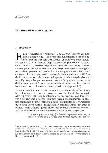 El íntimo adversario: Lugones