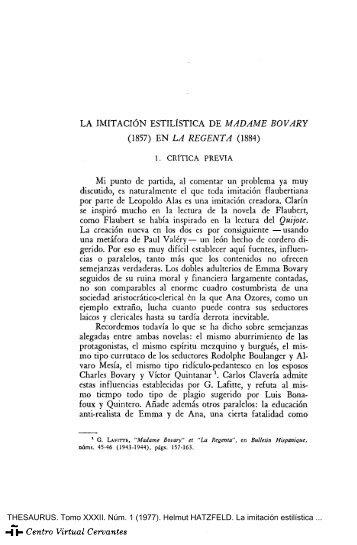 La imitación estilística de «Madame Bovary» (1857) en «La ...