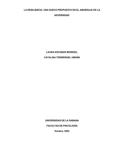 La Resiliencia Universidad De La Sabana