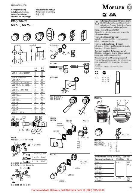 RMQ-Titan, M22-..., M22S - Klockner Moeller Parts