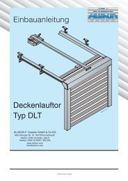 Einbauanleitung Deckenlauftor Typ DLT - Alukon Gmbh & Co. KG