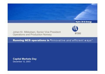 "Running NCS operations in ""innovative and efficient ways"" Johan Kr ..."