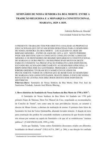 SEMINÁRIO DE NOSSA SENHORA DA BOA MORTE: ENTRE A ...