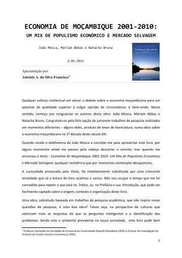 economia de moçambique 2001-2010 - Instituto de Estudos Sociais ...