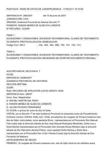 17/05/2011 18:10:08 SENTENCIA Nº: 289/2007 del 15 de ... - puntolex