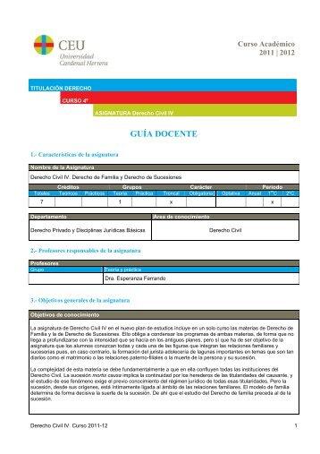 Derecho Civil IV - Universidad Cardenal Herrera, CEU