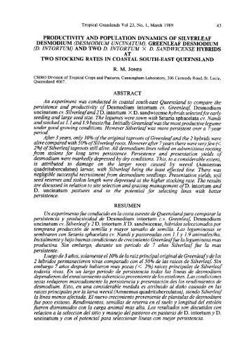 productivity and population dynamics of silverleaf desmodium