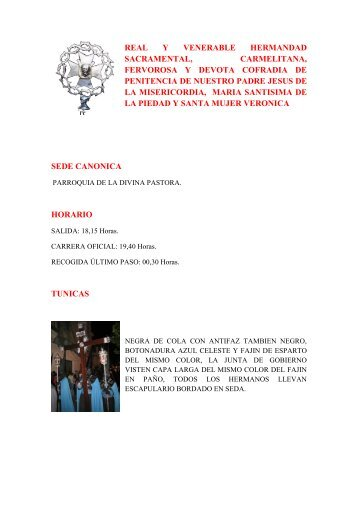 real y venerable hermandad sacramental, carmelitana, fervorosa y ...