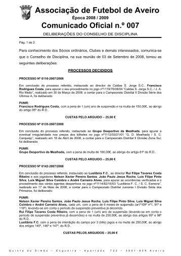 CD007_Deliberacoes_03092008 - Associação de Futebol de Aveiro