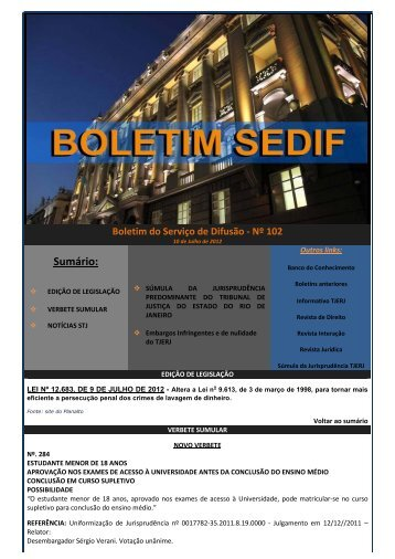 Boletim do Serviço de Difusão n° 102 - Tribunal de Justiça do ...
