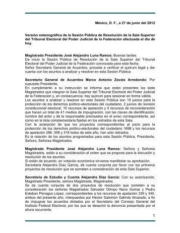 México, D. F., a 27 de junio del 2012 Versión estenográfica de la ...