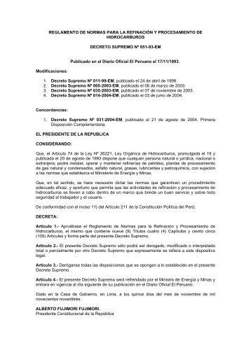 reglamento de normas para la refinación y ... - osinerg.gob.pe
