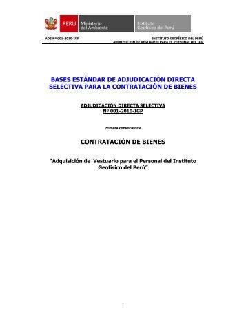 bases adquisicion de vestuario ads nº 001 - Instituto Geofísico del ...