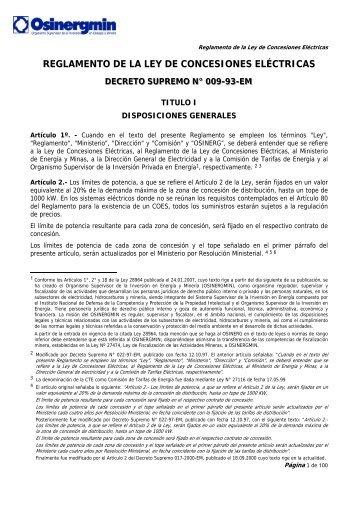 reglamento de la ley de concesiones eléctricas - osinerg.gob.pe ...