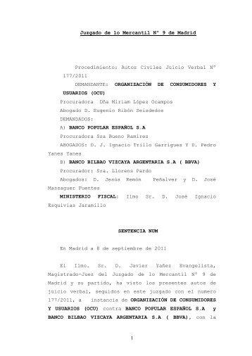 1 Juzgado de lo Mercantil Nº 9 de Madrid Procedimiento: Autos ...