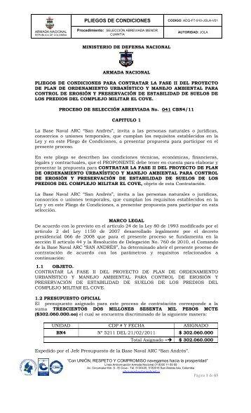PLIEGOS DE CONDICIONES - Portal Único de Contratación