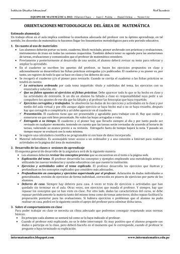 orientaciones metodologicas del área de matemática - colegio ...