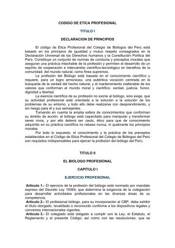 CODIGO DE ETICA PROFESIONAL - Colegio de Biologos del Peru