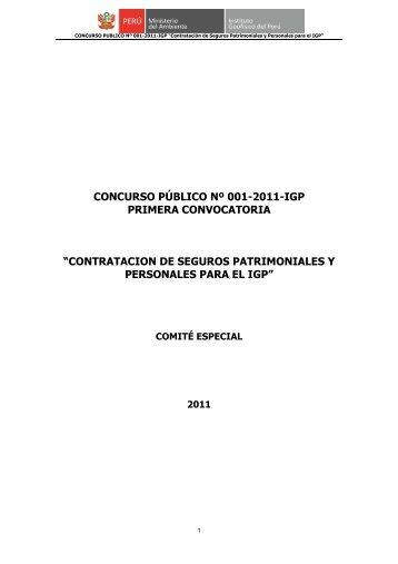concurso público nº 001-2011-igp primera convocatoria - Instituto ...