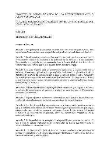 proyecto de codigo de etica de los jueces venezolanos o ... - Inicio