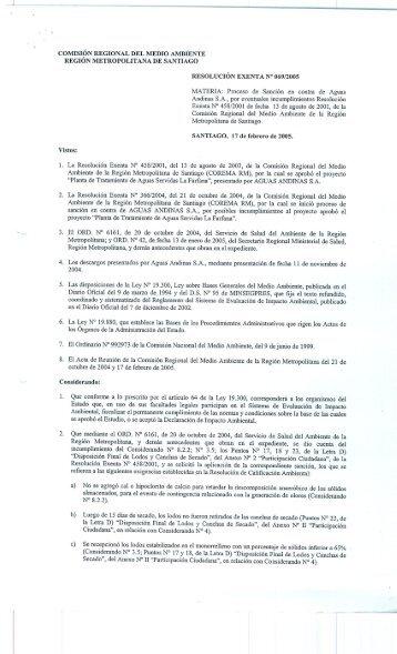 región metropolitana de santiago resolución exenta n° 069/2005