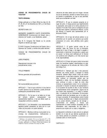 26. Ref. al Código Proced. Civiles - Gobierno del Estado de Yucatán