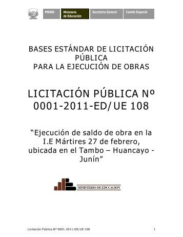 licitación pública nº 0001-2011-ed/ue 108 - Ministerio de Educación