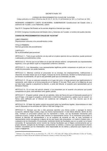 DECRETO NUM. 373 CODIGO DE PROCEDIMIENTOS CIVILES DE ...