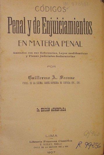 Códigos penal y de enjuiciamientos en materia penal / Guillermo A ...