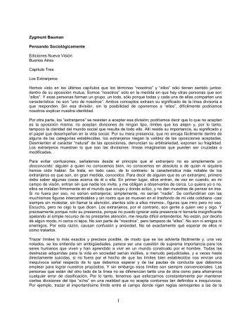 Zygmunt Bauman Pensando Sociológicamente Ediciones Nueva ...