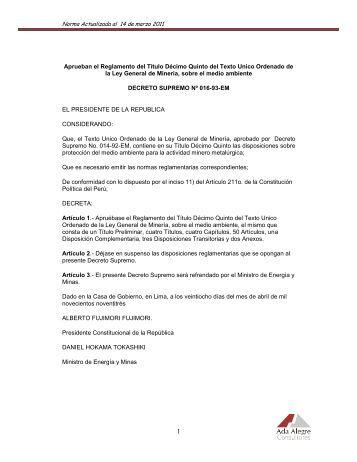 Decreto Supremo N° 016-93-EM, Reglamento para la Protección ...