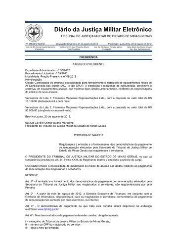 Homologação - Tribunal de Justiça Militar do Estado de Minas Gerais
