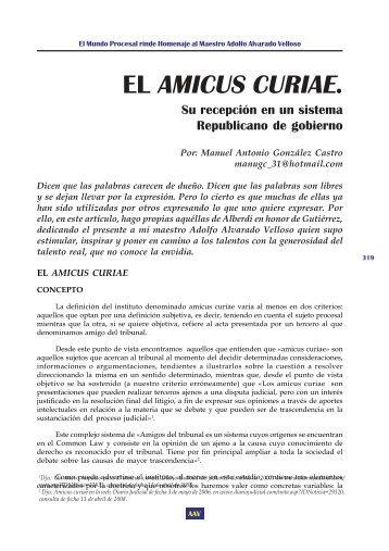 El Amicus Curiae. Su Recepción en un Sistema ... - EGACAL