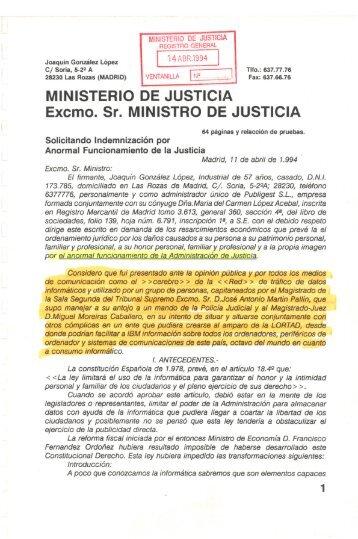 MINISTERIO DE JUSTICIA Excmo. Sr. MINISTRO DE ... - Padre Coraje
