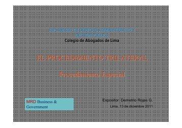 El Procedimiento Trilateral MRD - Colegio de Abogados de Lima