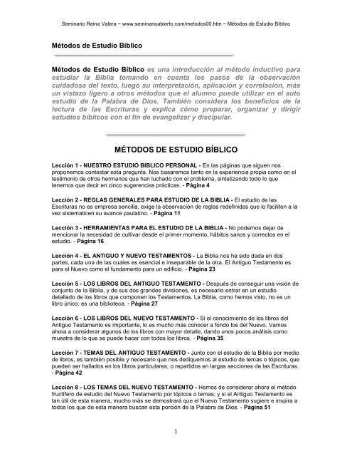 MÉTODOS DE ESTUDIO BÍBLICO - Seminario Reina Valera