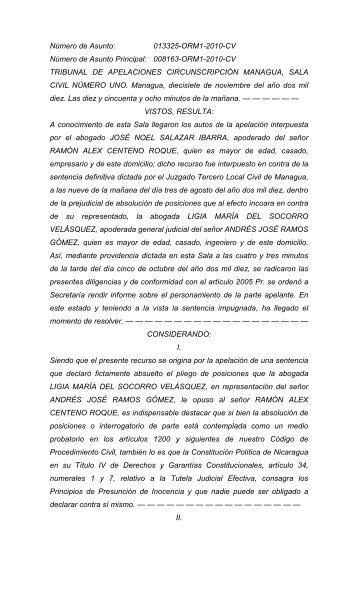 SENTENCIA ABSOLUCION DE POSICIONES - Poder Judicial