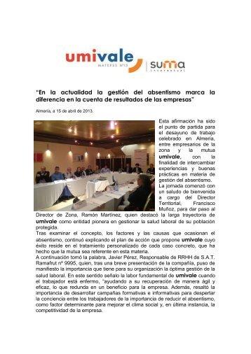 """""""En la actualidad la gestión del absentismo marca la ... - Umivale"""