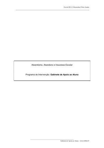 Absentismo, Abandono e Insucesso Escolar Programa de Inte