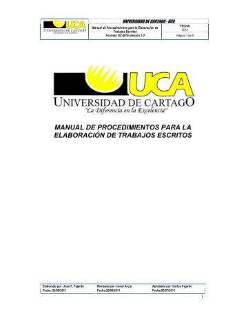 manual de procedimientos para la elaboración de trabajos escritos