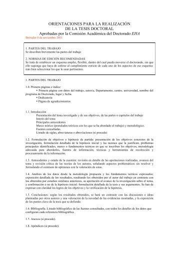orientaciones para realizar la tesis doctoral en el programa de