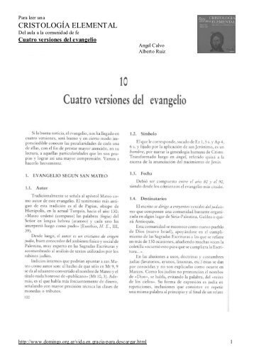 CE 10-Cuatro versiones del evangelio