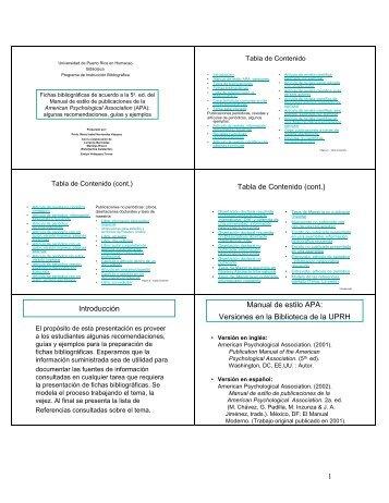 1 Manual de estilo APA: Versiones en la Biblioteca de la UPRH