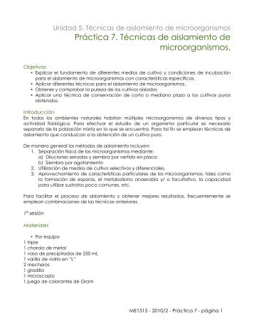 Práctica 7. Técnicas de aislamiento de microorganismos. - UNAM