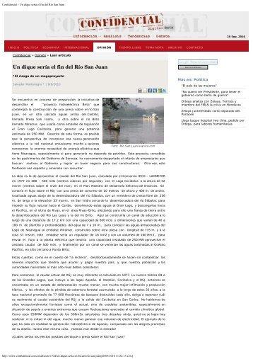 Confidencial - Un dique sería el fin del Río San Juan - CIRA/UNAN