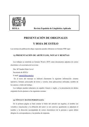 presentación de originales y hoja de estilo - Asociación Española ...