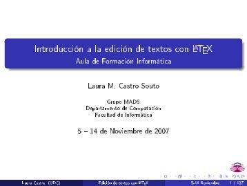 Introducción a la edición de textos con LaTeX - Facultad de Ciencias